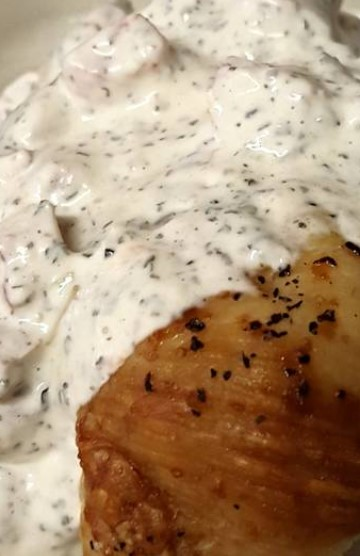 Baked Chicken Breasts with Creamy Basil Sauce