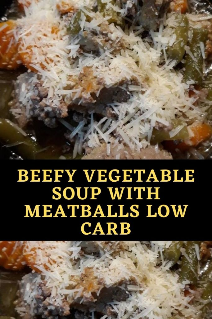 Beefy Vegetable Soup with Meatballs low carb (1)