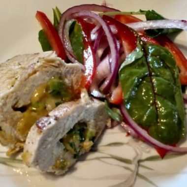 Stuffed Chicken Breasts with salad