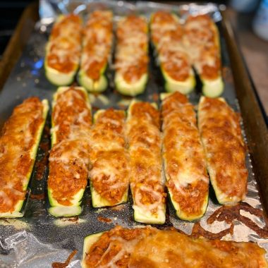 Low Carb Chicken Parmesan Stuffed Zucchini Boats (1)