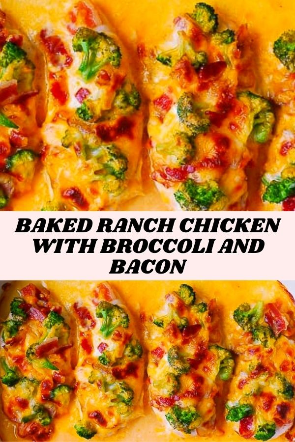 Baked Ranch Chicken with Broccoli and Bacon #lowcarb #chicken #chickenbake #chickenbreasts #chickenbreast