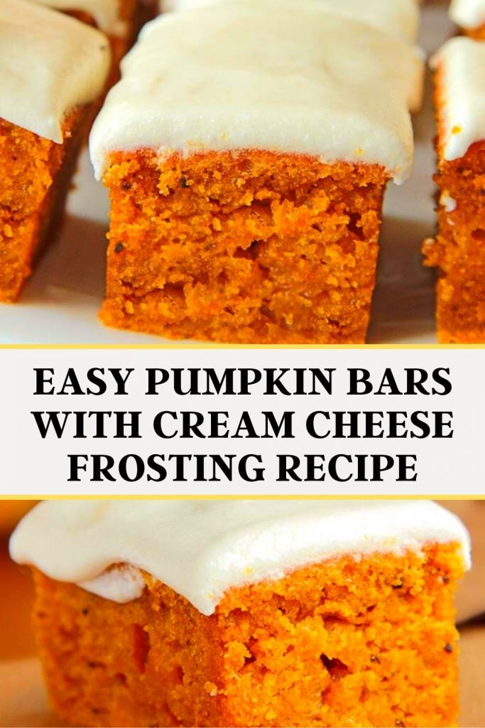 Easy Pumpkin Bars with Cream Cheese Frosting Recipe #Easy #Pumpkin #Bars #Cream #Cheese #FrostingRecipe